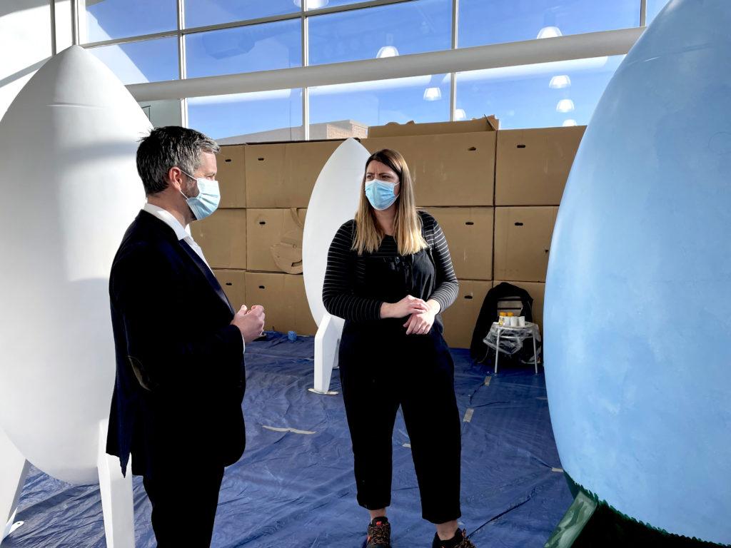 Simon Jenner speaking with artist Anna Shutt