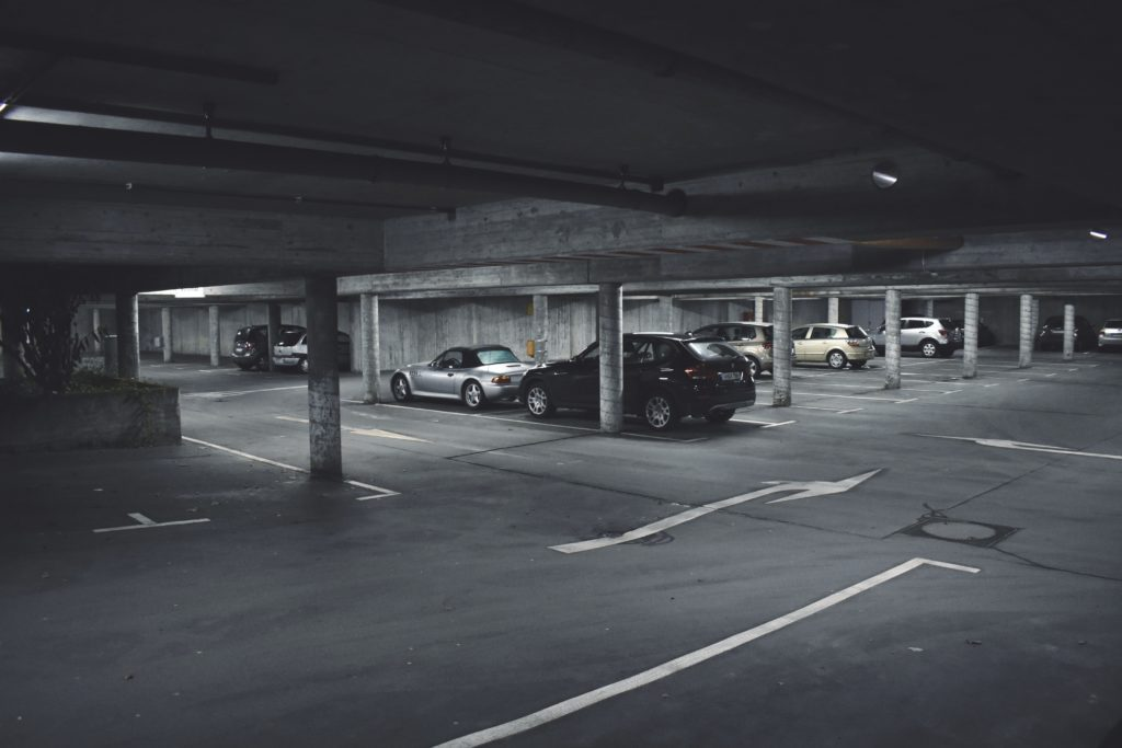 Multi-story car park, black and white image